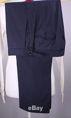 RALPH LAUREN Black Label Navy Blue Thin Pinstripe 2B Slim Fit Wool Suit 40R