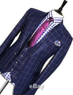 Rare Mens Claudio Lugli Bespoke 3 Piece Box Checked Slim Fit Suit 40r W34 X L31