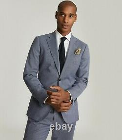 REISS Ben Puppytooth Check Slim Fit Suit 40R (Trouser 34R), Blue, BNWT, RRP £400