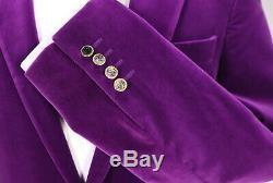 RICHARD JAMES Savile Row Purple Velvet 1-Btn Slim Fit Hacking Suit 36R