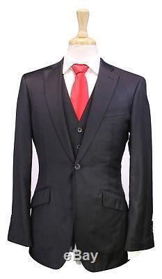 RICHARD JAMES Savile Row Solid Black Slim Fit 3-Pc Wool 1Bt Hacking Suit 38R