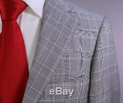 RING JACKET Japan Black/White Plaid 2-Btn Slim Fit Wool Suit 36R
