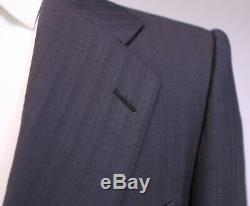 RING JACKET Japan Gray Tonestripe Wool 2-Btn Slim Fit Wool Hacking Suit 38R