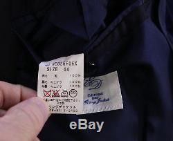 RING JACKET Japan Navy Blue Herringbone Slim Fit Wool 2-Btn Suit 36S