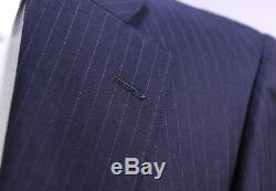 RING JACKET Japan Navy Blue Pinstripe 2-Btn Slim Fit Wool Luxury Suit XS/36S