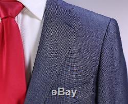 RING JACKET Japan Navy Blue/Silver Woven Wool-Silk 2-Btn Slim Fit Suit 38S