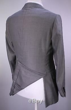 RING JACKET Japan Silver/Black Woven 2-Btn Wool-Silk Slim Fit Suit 36S