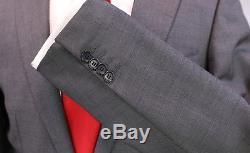 RING JACKET Japan Solid Gray Wool-Silk Sharkskin 2-Btn Slim Fit Suit 38R