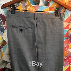 edf78d38c Ralph Lauren Black Label Solid Gray Slim Fit 2pc Suit Mens 40L 34x33 Flat  Front