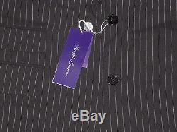 Ralph Lauren Purple Label Mens Black Striped Wool Drake Slim Custom Fit Suit New