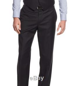 Ralph Lauren Slim Fit Solid Black Two Button Three Piece Wool Suit
