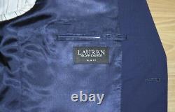 Ralph Lauren Suit Coat Slim Fit Navy Blue Sport Coat 100% Wool $450 New Mens 46R