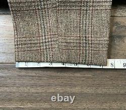 Rare Vintage Polo Ralph Lauren Brown Plaid Tweed Suit Heavy Wool Slim Fit 40R
