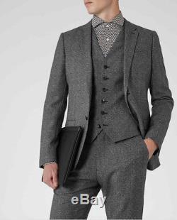 Reiss 3 piece Suit Bronte Slim fit Chest 40 W34 grey Wool melange