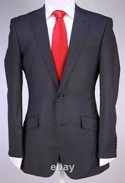 Richard James Savile Row Gray Striped Wool-Silk 2-Btn Slim Fit Suit 38R