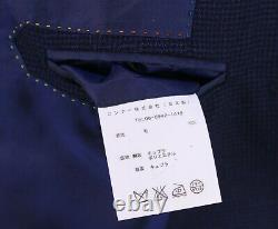 Richard James Savile Row Royal Blue/Black Check 2-Btn Slim Fit Wool Suit 34R