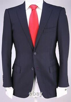 Ring Jacket Japan Dark Navy Blue Striped 2-Btn Slim Fit Wool Suit 38S