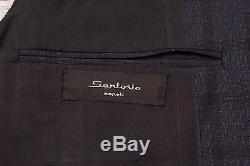 SARTORIO Napoli by KITON Dark Blue Plaid Wool Suit EU 48 NEW US 38 Slim Fit
