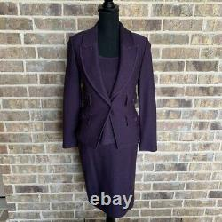 ST. JOHN 3 piece purple suit size 2 skirt set