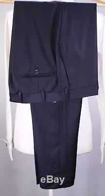 SUITSUPPLY Lazio Solid Navy Blue Super 110's Wool 2-Btn Slim Fit Suit 38R