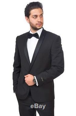 Slim Fit Men Shawl Lapel Tuxedo Black 1 Button Flat Front Pants Slim Style Suit
