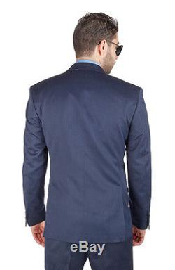 Slim Fit Men Suit 3 Piece Vested Navy Blue Notch Lapel Double Vents By AZAR MAN