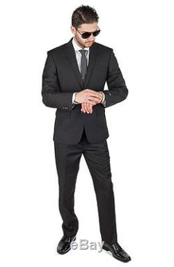 Slim Fit Suit 2 Button Solid Black AZAR MAN Flat Front Pants New Style With Tags