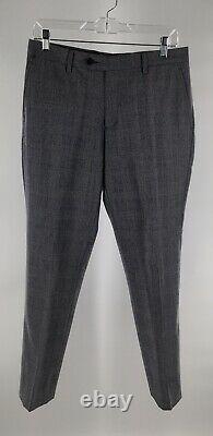 Spier & Mackay Slim Fit Unlined Gray Glen Plaid Patch Pocket Flat Front Suit 36S