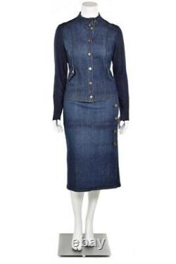 St John Knits/Sport 3Pc Dark Wash Jean Denim Jacket Skirt & Pant Suit Set sz 6 M
