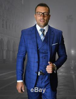 Statement Men's Slim Fit Plaid Wool Notch Lapel Vested Suit Sapphire