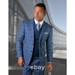 Statement Mens Tivoli Steel Blue Super 180s Wool 3 Piece Vest Modern Fit Suit