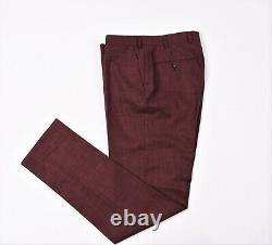 Suit Supply Havana Patch Wide Lapel HL Burgundy Men Slim Fit Suit EU48 UK38