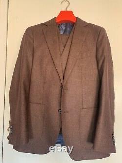 Suitsupply 3 Pcs Pure Wool Burgundy Slim Fit Suit Uk38r Eu48r Worn Once