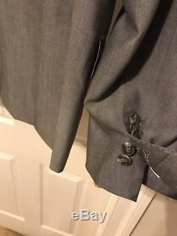 Suitsupply Gray Washington Peak Lapel Slim Fit Suit size 42R 36x34