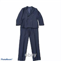 Suitsupply Navy Havana Suit Size 38 Double-Breasted Slim Fit Altered Pants