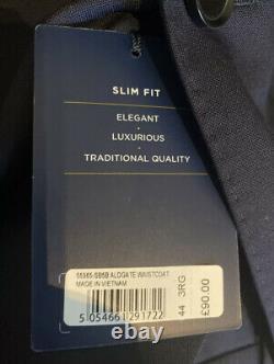 T. M Lewin Aldgate Barberis Slim Fit Navy 3 Piece Suit 42Chest/36waist Rrp£350