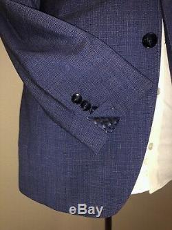 TED BAKER- NWOT 36R Slim Fit- 2pc 100% Virgin Wool, Blue, Built-In Pocket Square