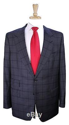 TOM FORD 2016 Gray Windowpane Wool-Silk 2-Btn Slim Fit Peak Lapel Suit 46R