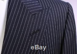 TOM FORD Recent Black Pinstripe Peak Lapel 2-Btn Slim Fit Wool Suit 44L