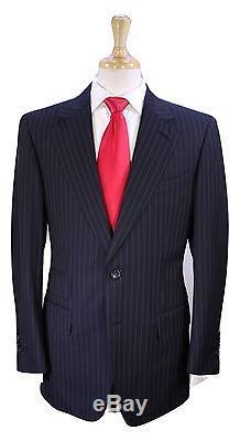 TOM FORD Recent Navy Blue Pinstripe Slim Fit Wool 2-Btn Luxury Suit 40R