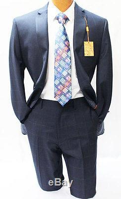 Tallia Navy Blue Windowpane Two Piece Slim Fit Suit Mens Suits