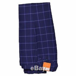 Tallia Orange Men's 100% Wool Slim Fit Blue Windowpane Two Button Suit Navy