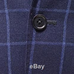 Tallia Orange Men's 100% Wool Slim Fit Windowpane Two Button Vested Suit Navy