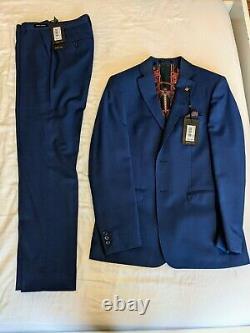 Ted Baker Franc Slim Fit Blue Wool Suit BNWT unworn 38R Jacket 30R Trousers