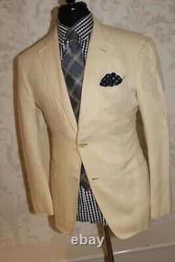 Tom Ford Coat Jacket Suit Cream Herringbone Slim Fit Uk 38 / 40 Rrp £2k