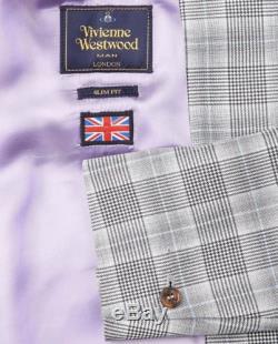VIVIENNE WESTWOOD GREY PRINCE OF WALES SLIM FIT JAMES SUIT. UK 38R IT 48 Med