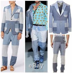Vivienne Westwood Runway Slim-fit Sky Blue Patchwork Linen Suit. Uk 40r, It 50r