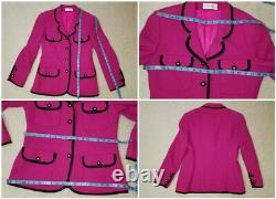 VP Collections Fuchsia 100% Pure Wool Boucle 2 Pc Skirt Suit Sz. 12 (Fits 6-8)