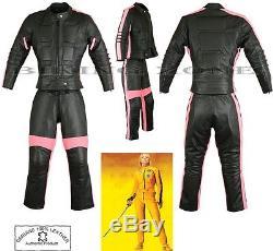 Womens Black Fish Slim Fit Motorbike /motorcycle Leather Jacket / Suit