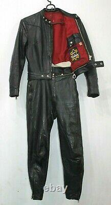 Womens Vintage 1970 HARRO 2 Piece Slim Fit Black Leather Motorcycle Race Suit 38